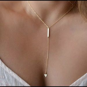 Gold Plated Women's Fashion Bar Triangle Necklace